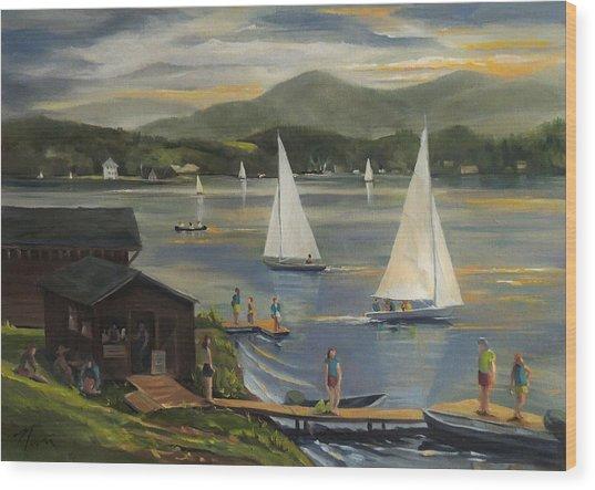 Sailing At Lake Morey Vermont Wood Print