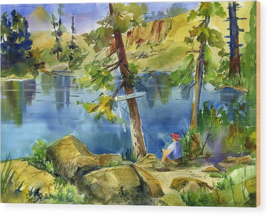 Salmon Lake Fisherman Wood Print