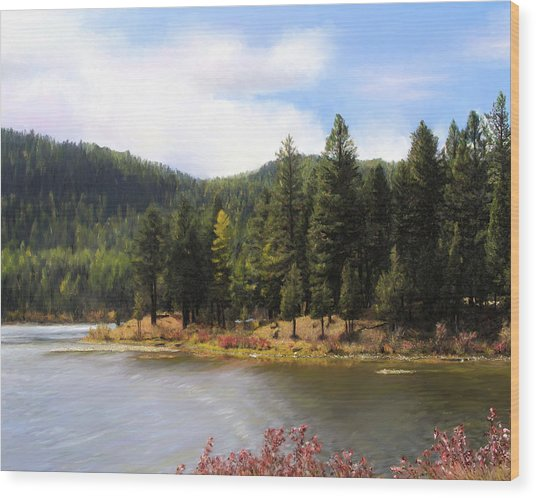 Salmon Lake Montana Wood Print