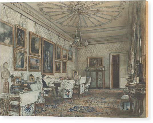 Salon In The Apartment Of Count Lanckoronski In Vienna Wood Print