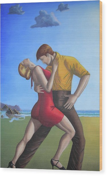 Salsa Dancing Portrait Painting Art   Wood Print by Luigi Carlo