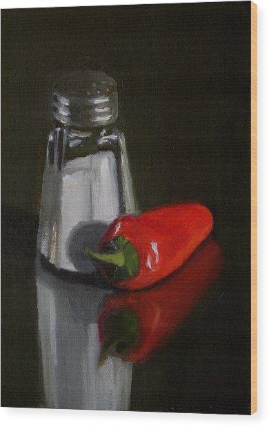 Salt And Pepper Wood Print by Becky Alden