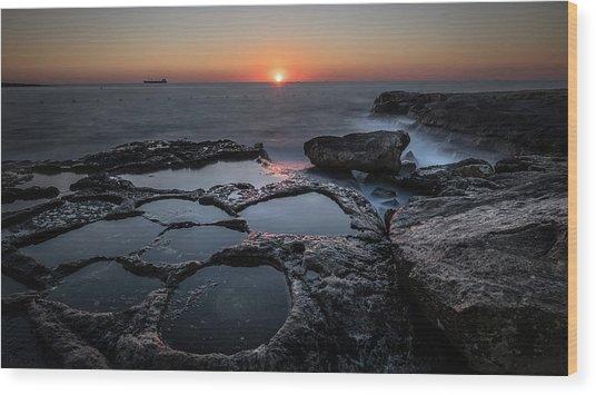 Salt Flats - Marsaskala, Malta - Seascape Photography Wood Print by Giuseppe Milo