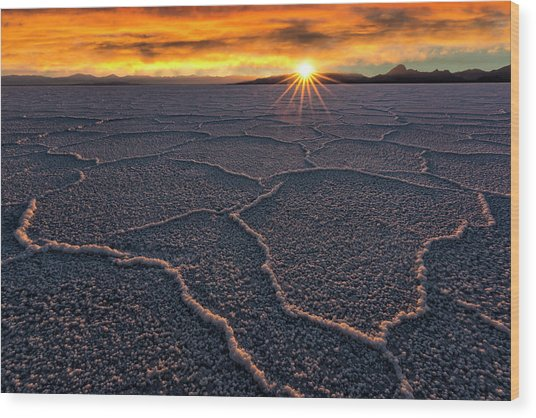 Salt Flats Sunset Wood Print