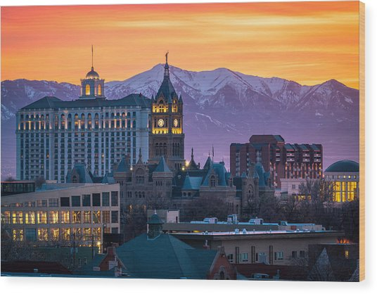 Salt Lake City Hall At Sunset Wood Print