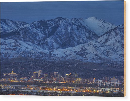 Salt Lake City Wood Print