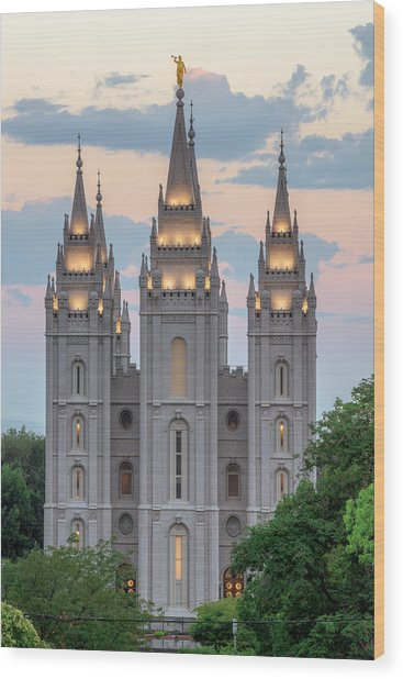 Salt Lake City Temple Morning Wood Print