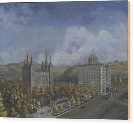 Salt Lake City Temple Square Nineteen Twelve Right Panel Wood Print