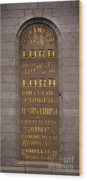 Salt Lake Lds Temple Dedication Plaque Close-up Wood Print