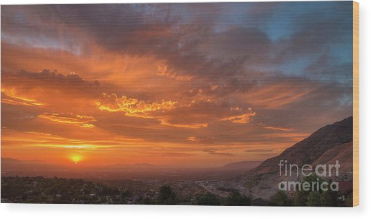 Wood Print featuring the photograph Salt Lake Valley Sunset by Spencer Baugh