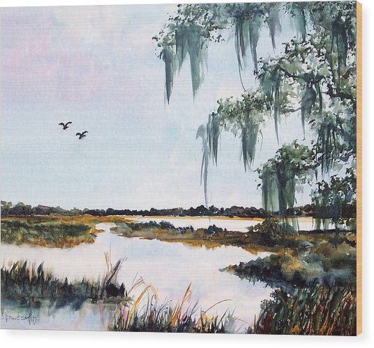 Salt Marsh With Live Oak Wood Print by Carol Sprovtsoff