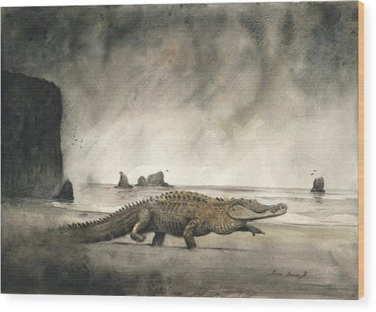 Saltwater Crocodile Wood Print