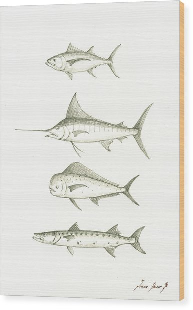 Saltwater Gamefishes Wood Print
