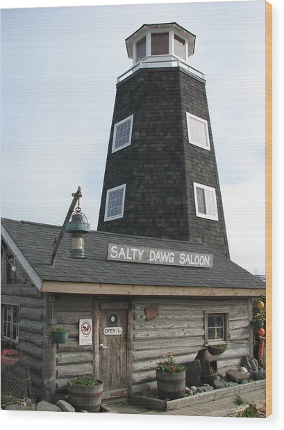 Salty Dawg Saloon Wood Print by April Camenisch