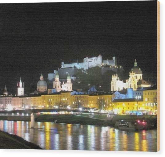 Salzburg At Night Wood Print