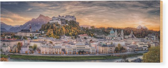 Salzburg In Fall Colors Wood Print by Stefan Mitterwallner