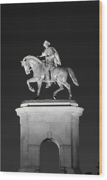 Sam Houston - Black And White Wood Print