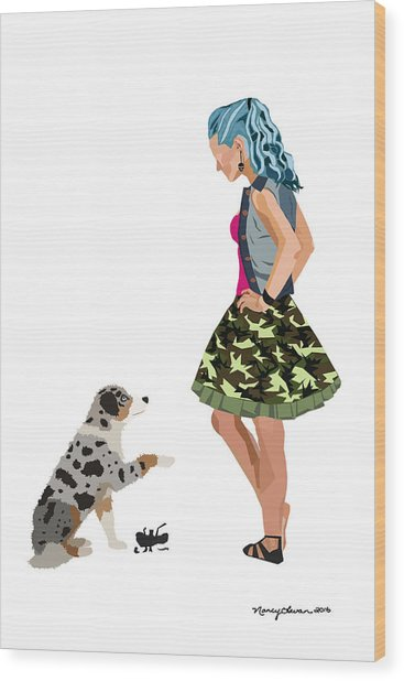 Wood Print featuring the digital art Samantha by Nancy Levan