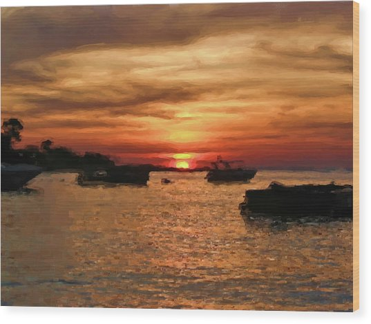 Samed Island Sunrise Wood Print