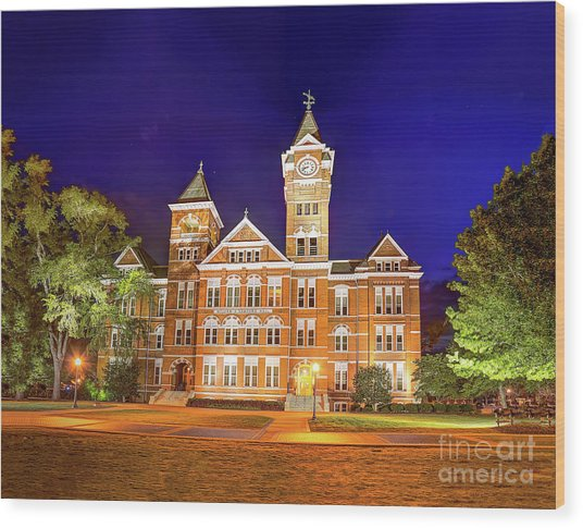 Samford Hall At Night Wood Print