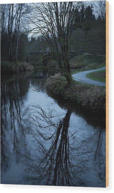 Sammamish River At Dusk Wood Print