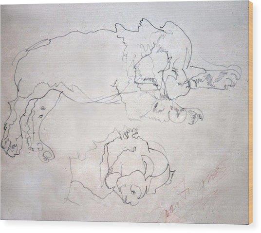Sammy As A Pup Wood Print by Joan  Jones