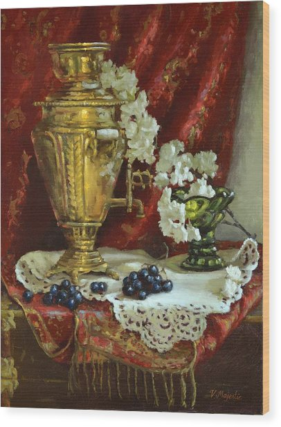 Samovar And Cherry Blossoms Wood Print