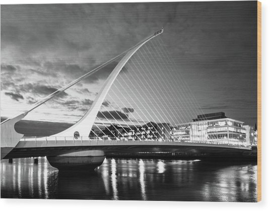 Samuel Beckett Bridge In Bw Wood Print