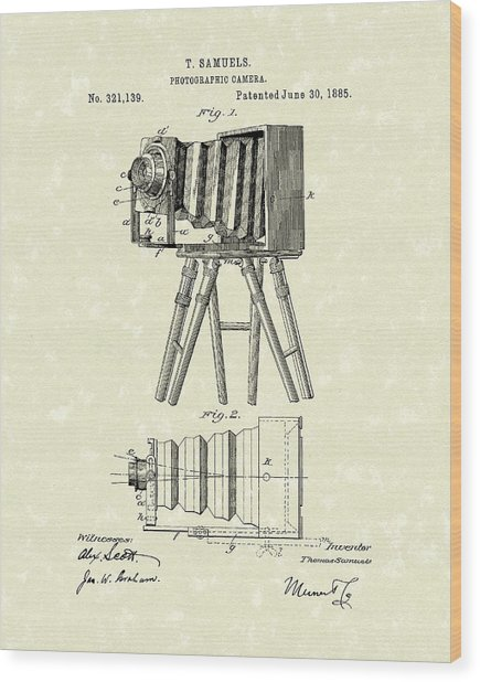 Samuels Photographic Camera 1885 Patent Art Wood Print