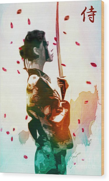 Samurai Girl - Watercolor Painting Wood Print