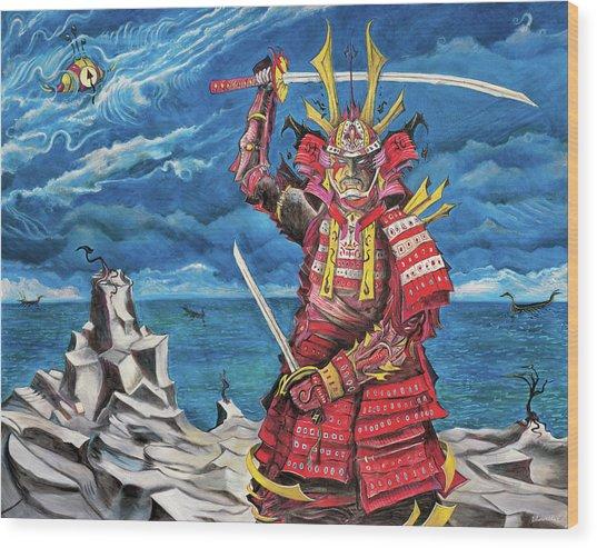 Samurai Sin-mint Wood Print