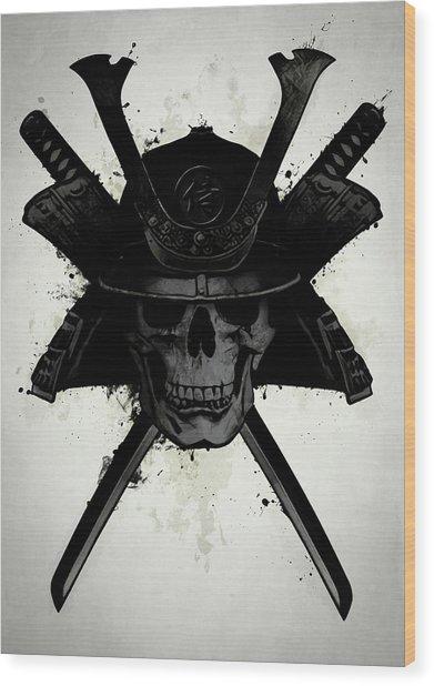 Samurai Skull Wood Print