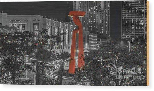 San Antonio La Antorcha De La Amistad Sculpture In Selective Color Wood Print