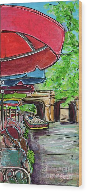 San Antonio River Walk Cafe Wood Print