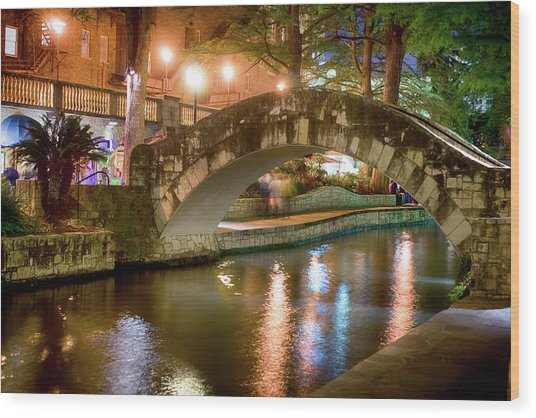 San Antonio River Walk V1 Wood Print