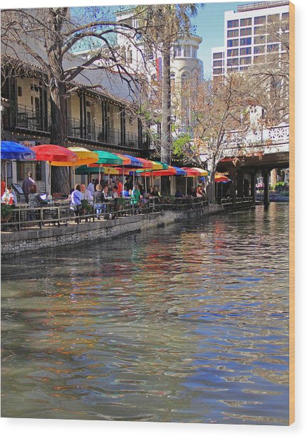 San Antonio Riverwalk Wood Print