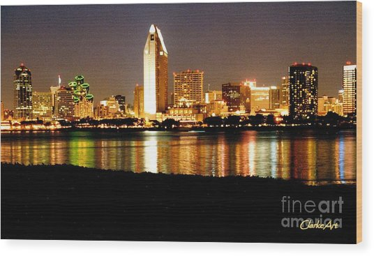 San Diego Skyline With Reflections On Mission Bay Wood Print
