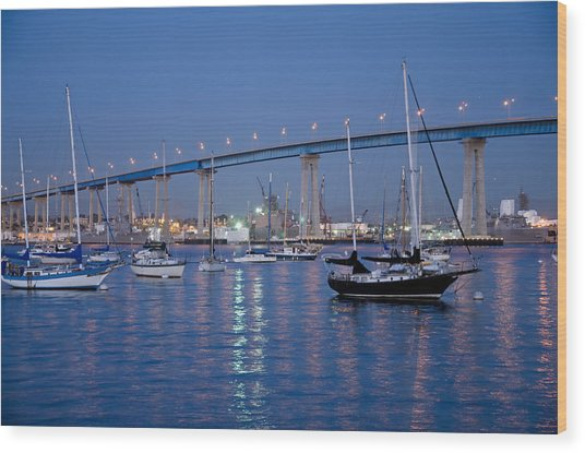 San Diego Bay At Nightfall Wood Print