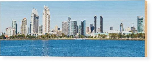 San Diego Cityscape Panorama Wood Print