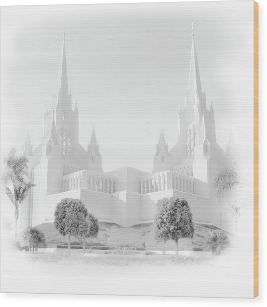 San Diego Lds Temple Wood Print