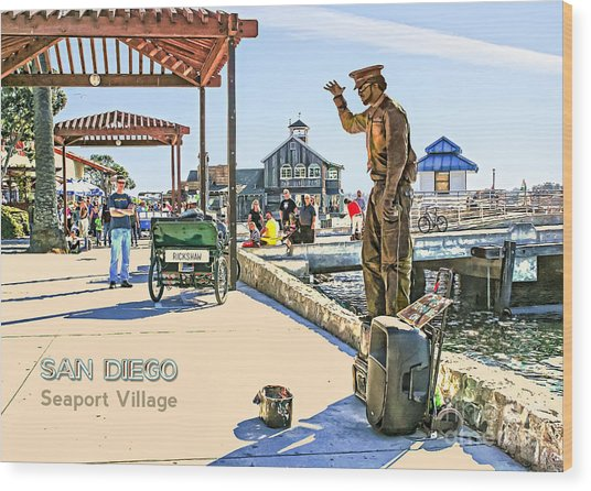 San Diego - Seaport Village Scene Wood Print