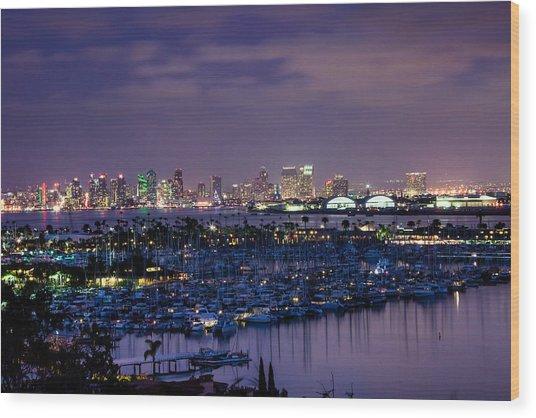 San Diego Skyline 4 Wood Print