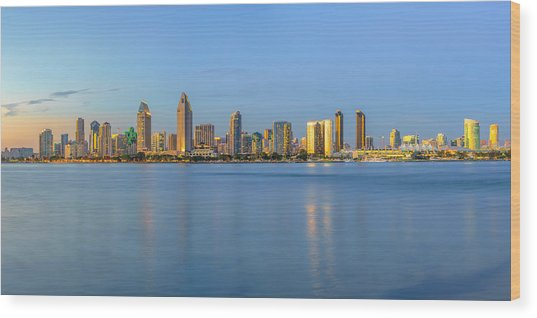 San Diego Skyline At Dusk Wood Print