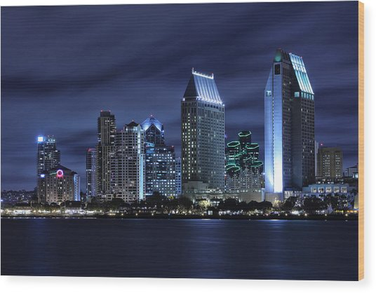 San Diego Skyline At Night Wood Print