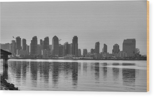 San Diego Skyline Black And White Wood Print