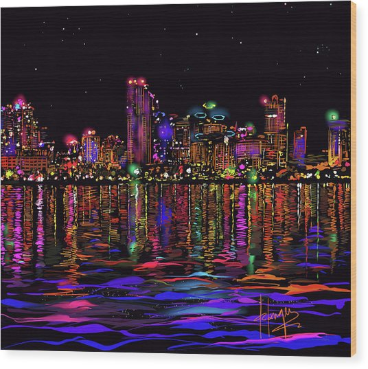 San Diego Stars Wood Print