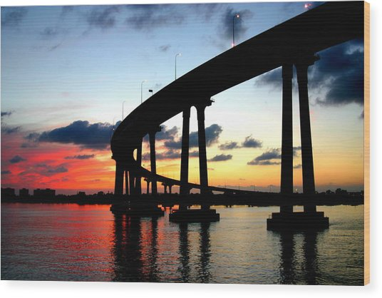 San Diego Sunset Wood Print