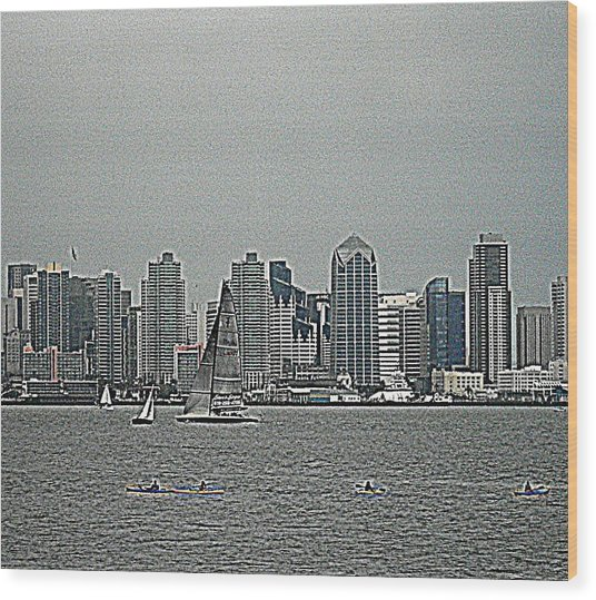 San Diego Waterfront Wood Print