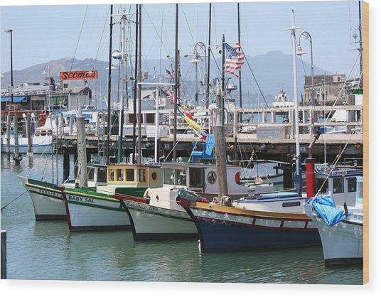 San Fran Boats Wood Print by Melanie Beasley