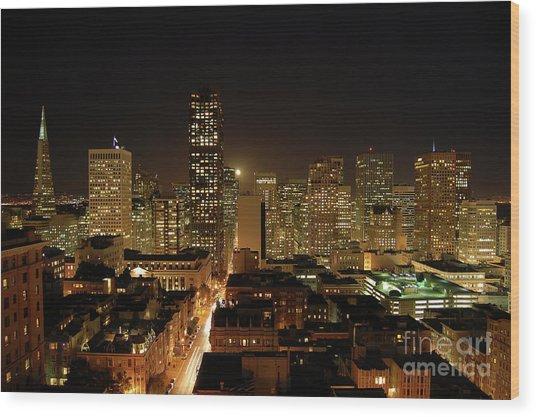 San Francisco At Night Wood Print